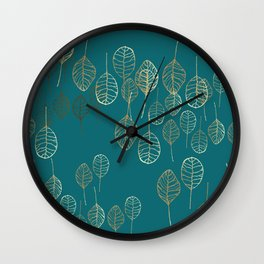 Golden Leaves - Teal Wall Clock