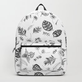 Scattered Garden Herbs, Black and White Backpack