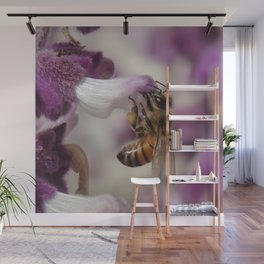 Worker Bee on Mexican Sage Wall Mural