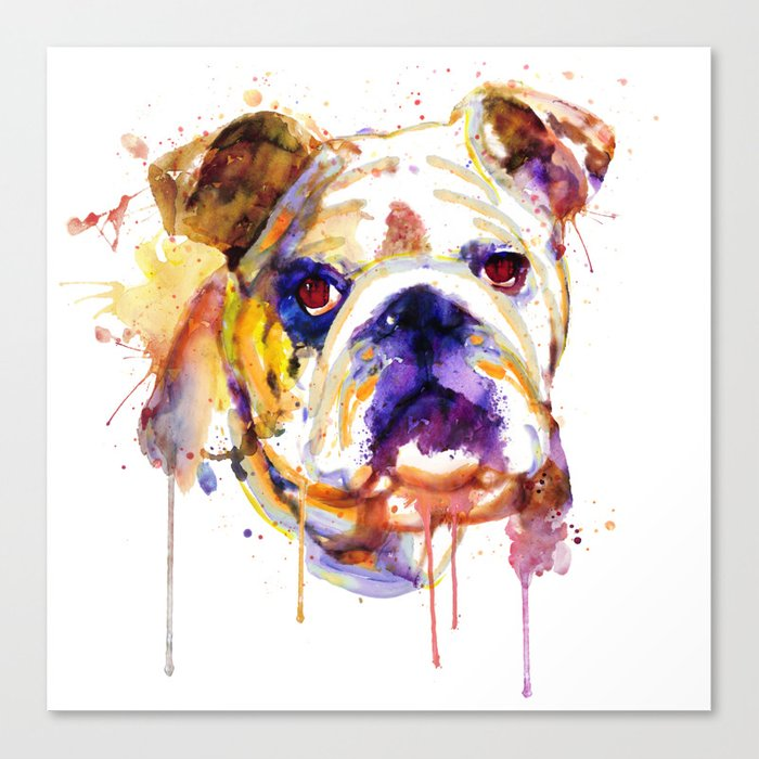 English Bulldog Head Canvas Print