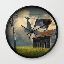 Wash on the Line by Abandoned House Wall Clock