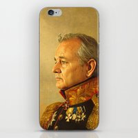 white iPhone & iPod Skins featuring Bill Murray - replaceface by replaceface