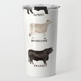 Beef and Dairy Cow Breeds Watercolor Travel Mug