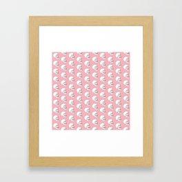 White Skull Pattern with Coral Background Framed Art Print