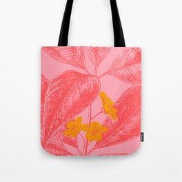 Modern Botanical Leaves in Pink Tote Bag