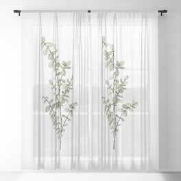Baby Blue Eucalyptus Watercolor Painting Sheer Curtain