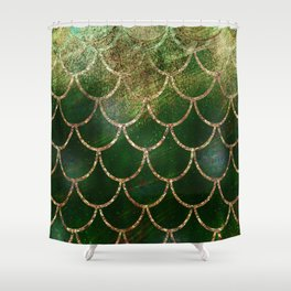 Green & Gold Mermaid Scales Shower Curtain