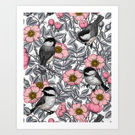 Chickadees in the wild rose, pink and gray Art Print