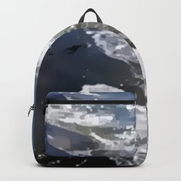 Abstracted waves splashing ashore Backpack