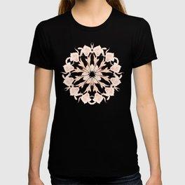 Rose Gold Gray Lilies Mandala T-shirt