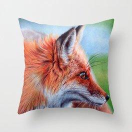 Fox Head - Ballpoint pen Throw Pillow