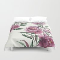 peony Duvet Covers featuring peony by Dao Linh