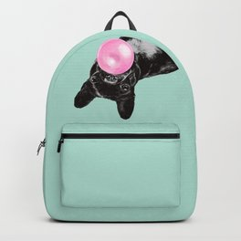 Bubble Gum Sneaky French Bulldog in Green Backpack