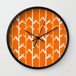 Oat Field Leafy Orange Pattern Wall Clock