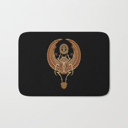 Golden Red Winged Egyptian Scarab Beetle with Ankh Bath Mat