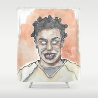 oitnb Shower Curtains featuring Crazy Eyes OITNB by Ashley Rowe