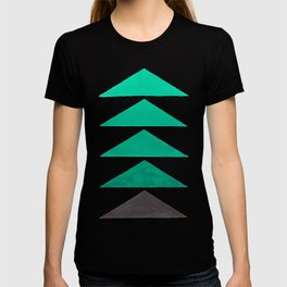 Colorful Turquoise Green Geometric Pattern with Black Accent T-shirt
