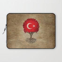 Vintage Tree of Life with Flag of Turkey Laptop Sleeve