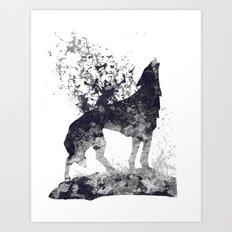 Howling Wolf Splash Print Art Print