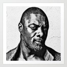 Idris Black and White Art Print