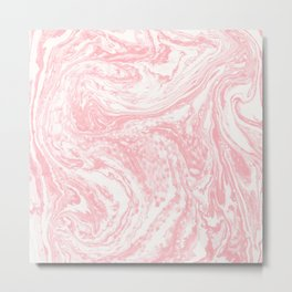 Elegant coral pink white watercolor abstract marble Metal Print