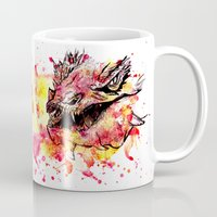 smaug Mugs featuring Watercolor Smaug by Trinity Bennett