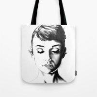 audrey hepburn Tote Bags featuring Audrey Hepburn by Joe Shmo