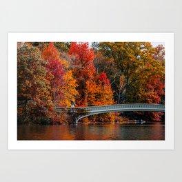 Autumn Color of Bow Bridge in Central Park New York City Art Print