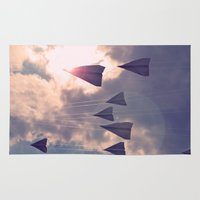 planes Area & Throw Rugs featuring Paper Planes by Ryan Carey