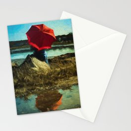 Girl with Red Umbrella Stationery Cards