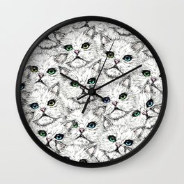 White Kitty Faces Wall Clock