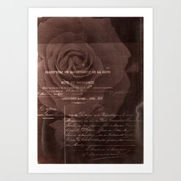 Letter and Rose II, brown edition Art Print