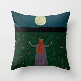 Night Sorceress worshipping the Moon Throw Pillow