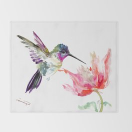 Little Hummingbird and Big Flower Throw Blanket