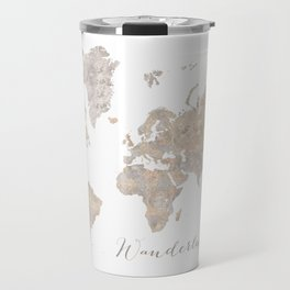 Wanderlust watercolor world map with compass rose Travel Mug