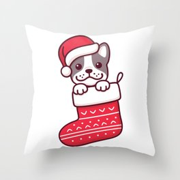 Puppy in Christmas stocking Throw Pillow