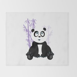 Panda Girl - Purple Throw Blanket