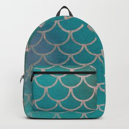 Modern abstract teal brown pink gradient scallop pattern Backpack