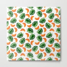 Tropical Leaf Pattern and Mandarin Metal Print