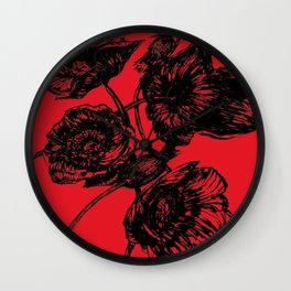 Poppies In Bloom - Red  Wall Clock