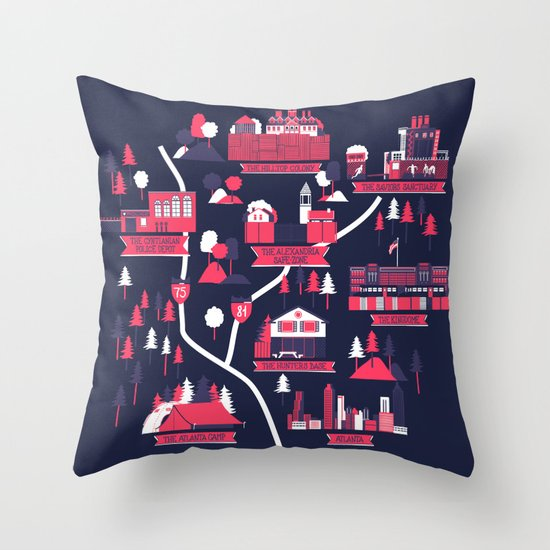 The Survivors Map (dark edition) Throw Pillow