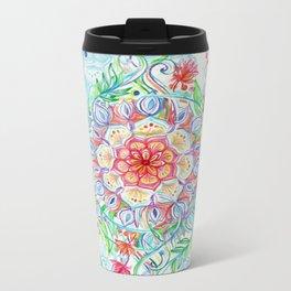 Messy Boho Floral in Rainbow Hues Metal Travel Mug