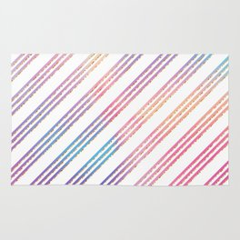 Abstract pink teal purple gradient stripes pattern Rug