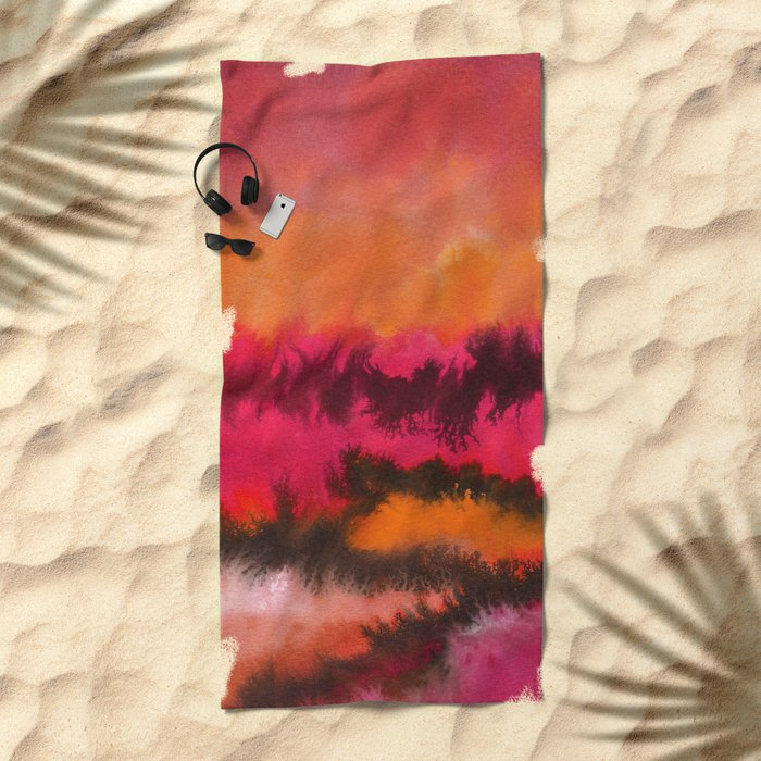 Watercolor abstract landscape 26 Beach Towel