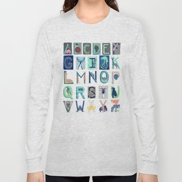 Alphabet Letter Decor Design Art Pattern Long Sleeve T-shirt