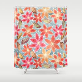 Cute Lilies and Leaves Shower Curtain