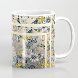 Passion Flower Baroque in Gold Yellow Grey Coffee Mug
