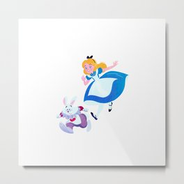 Once upon a time Alice and Rabbit Metal Print