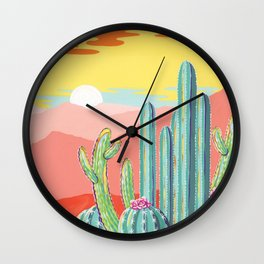 Wild Barrel Cacti Sunset Wall Clock