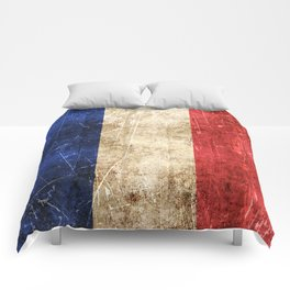 Vintage Aged and Scratched French Flag Comforters